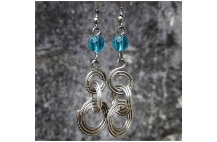 Blue Crystal & Rings Earrings