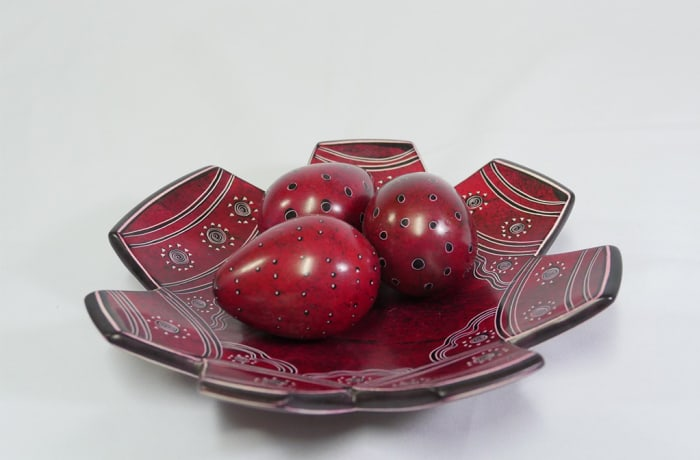 Brown Fruit Bowl with three eggs