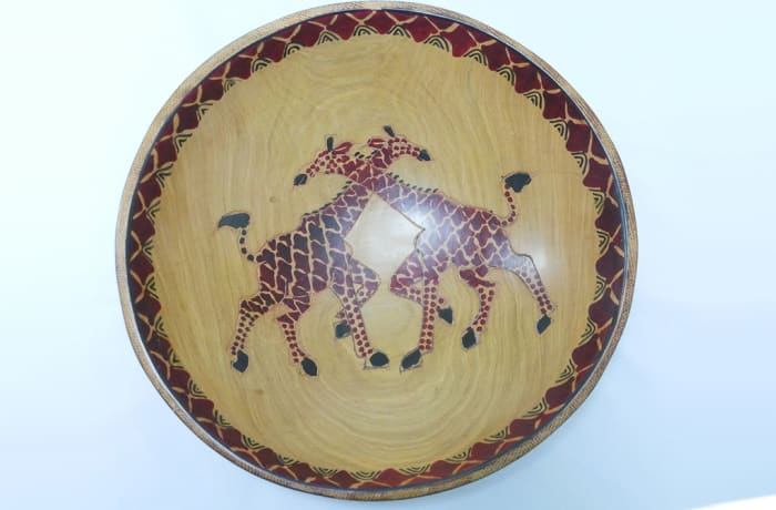 Brown Fruit Bowl two giraffes