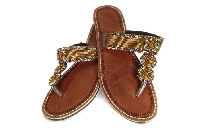 Brown gold beaded sandals