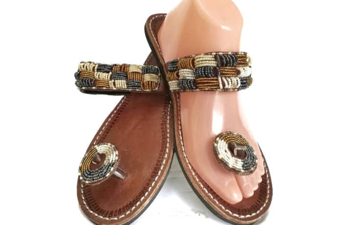 Brown gold silver white beaded leather sandals