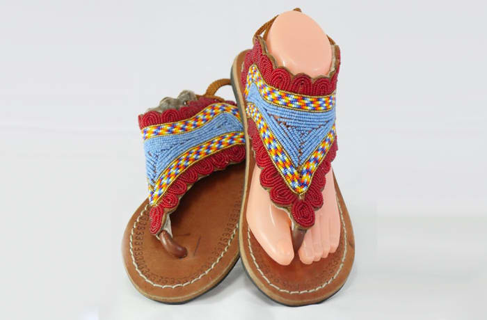 Brown leather sandals with blue & brown beads