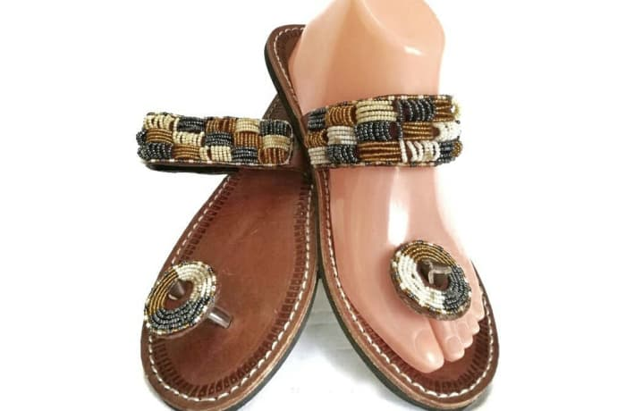 Brown leather sandals with gold, silver and white beads