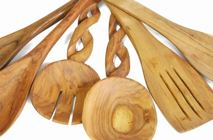 Hand carved cooking utensils