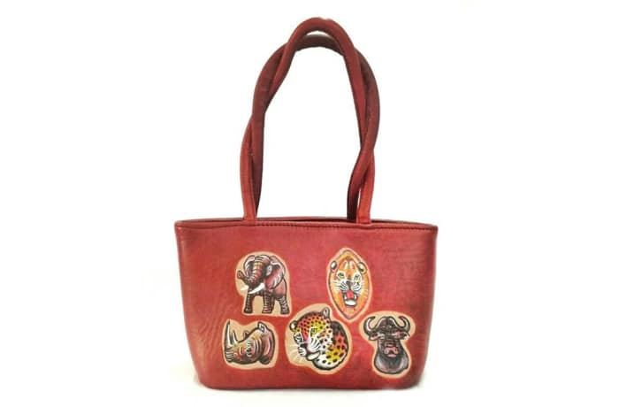 Leather Shoulder Handbag with animals