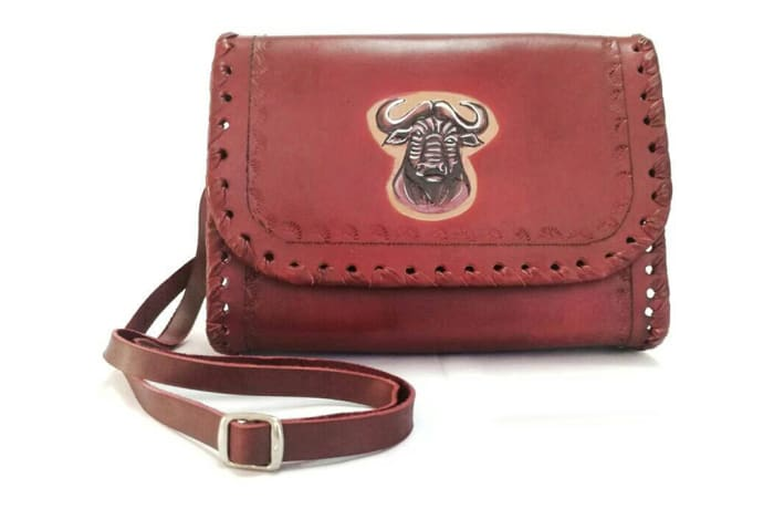 Leather Shoulder Handbag with buffalo