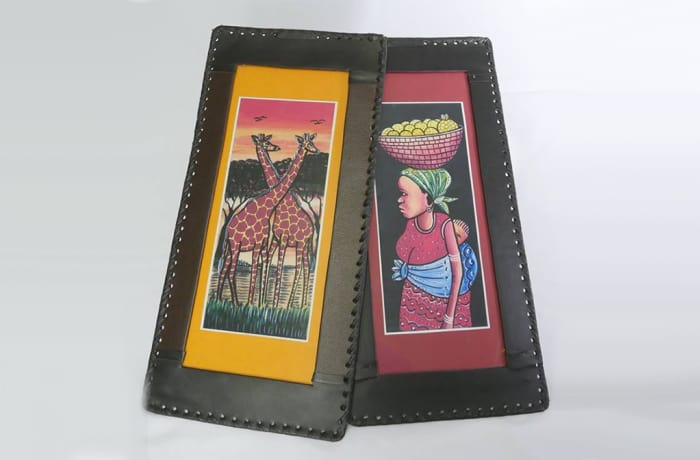 Leather picture frames with artwork