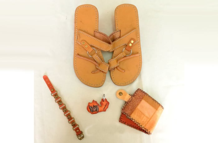 Light Brown Leather Sandals, & Wallet, Bangle & Keyring