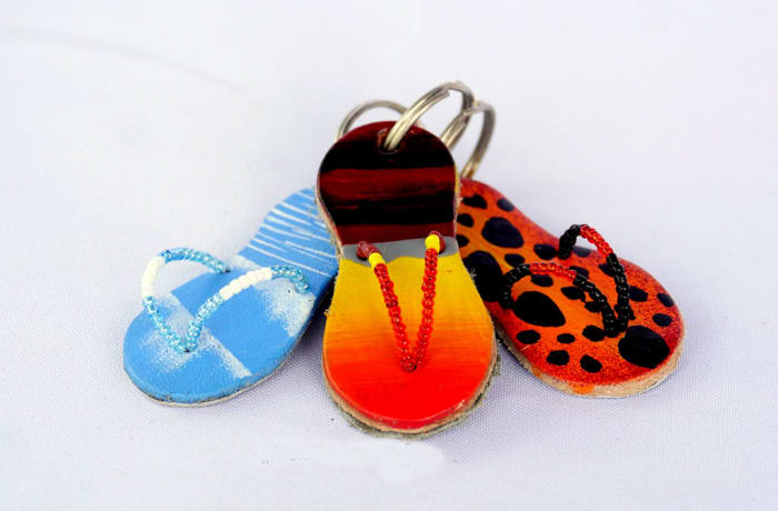 Hand painted leather pata pata key rings