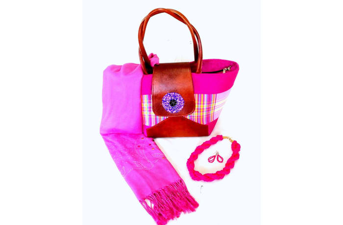 Pink fabric and brown leather handbag with shawl, necklace & earrings