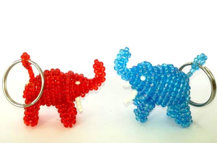 Beaded elephant key rings