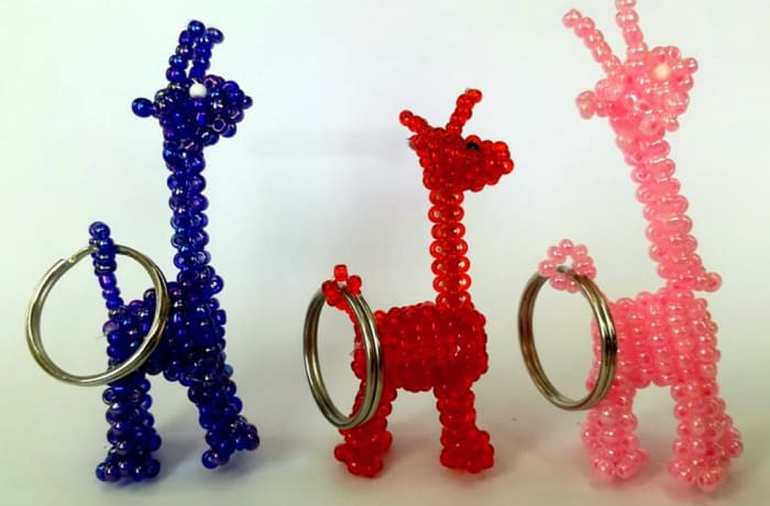 Beaded giraffe key rings