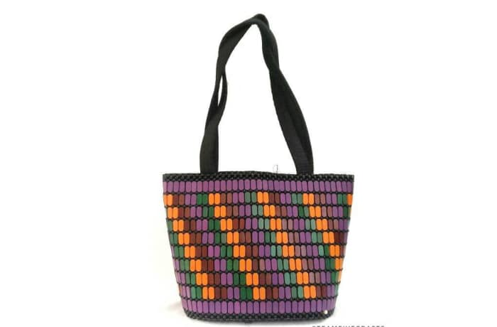 Purple, orange, green, patterned Shoulder Handbag