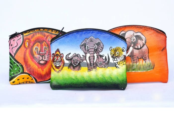 Hand painted leather coin purses