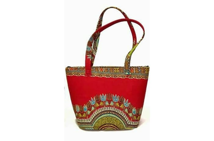 Red Ankara print shoulder handbag