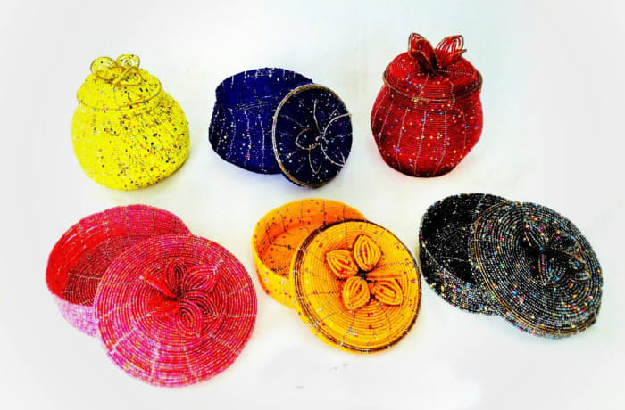 Beaded Round Jewellery Boxes