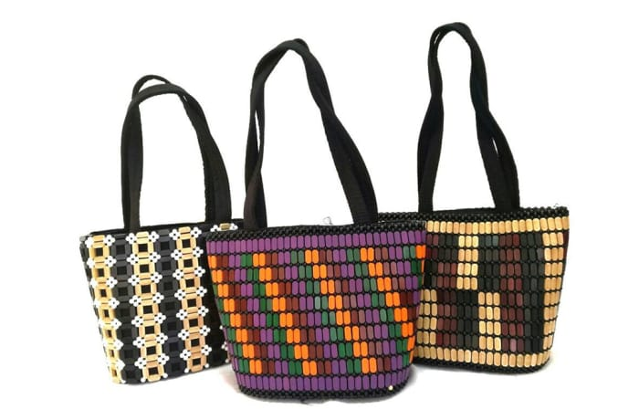 Beaded Patterned Handbags - Fabric Straps