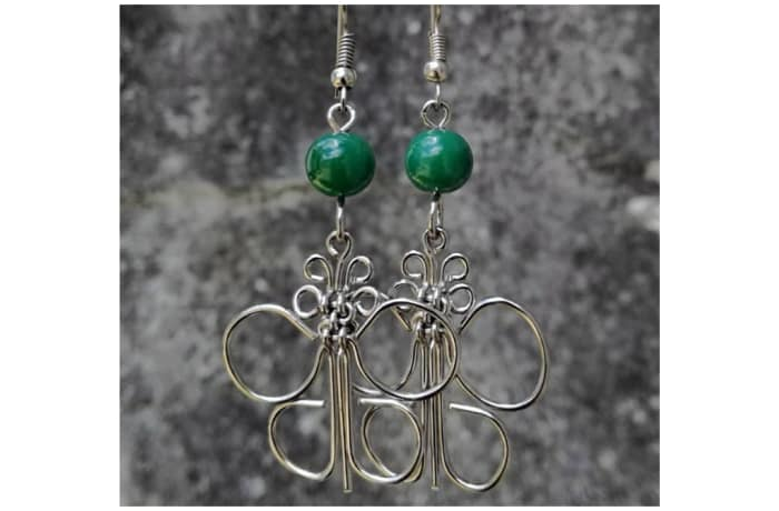 Silver Butterfly Earrings with green bead
