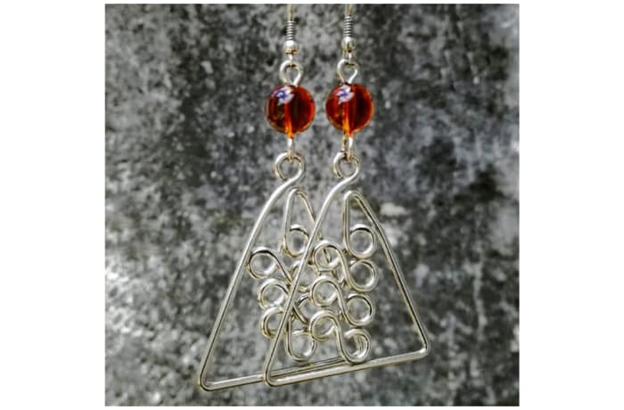 Silver Triangle Earrings with Brown Crystal