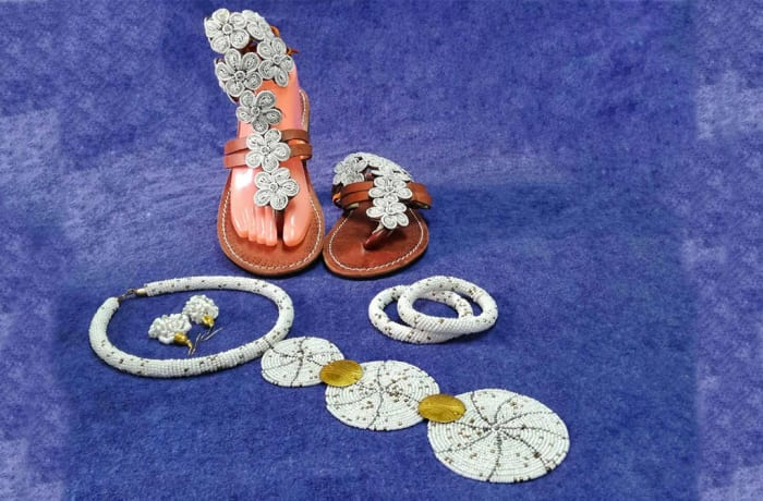 Silver floral Sandals , Necklace and Bangles