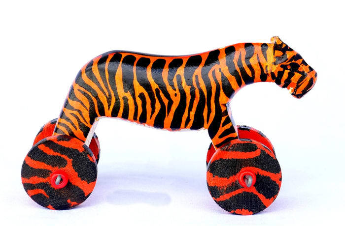 Hand painted wooden tiger