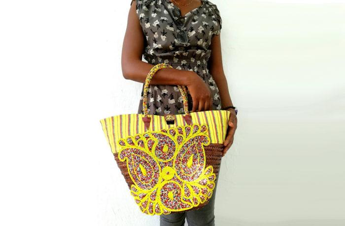 Beaded Kikoy Straw Bag