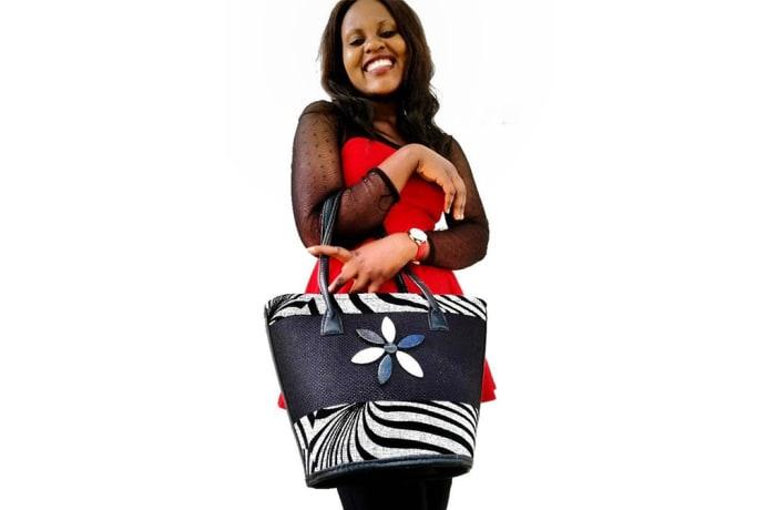 Zebra Print fabric & Leather Handbag