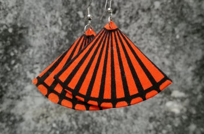Chitenge Earrings - Mellon Orange Black