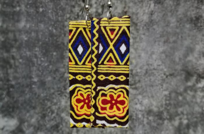 Chitenge Earrings - Rectangle Yellow Blue