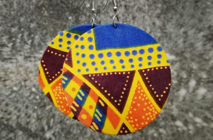 Chitenge Earrings - Round Yellow Blue Orange