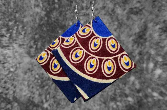 Chitenge Earrings - Square Brown Blue