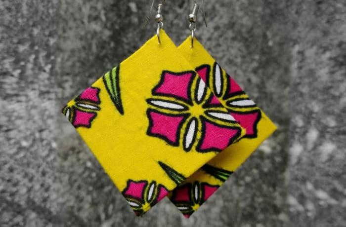 Chitenge Earrings - Square Yellow Pink