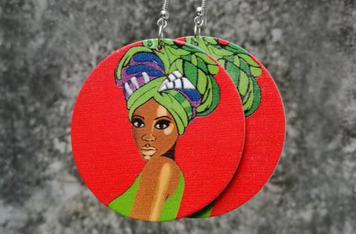 Painted Earrings - Woman Traditional Red Green
