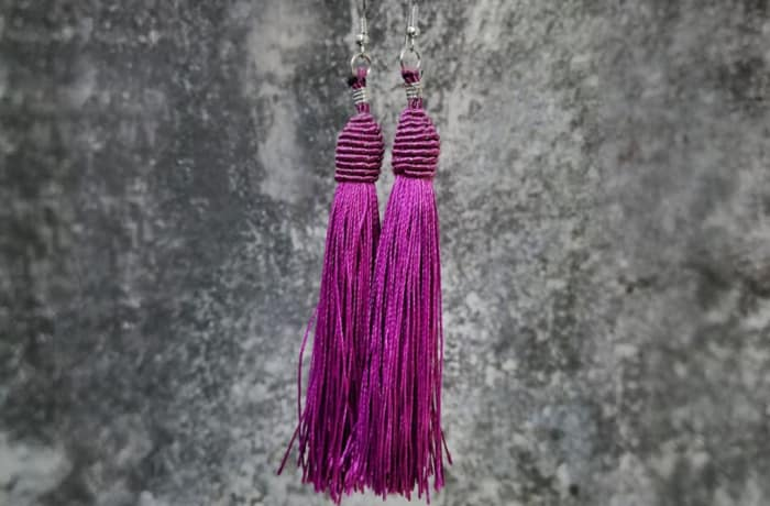 Tassels Earrings - Purple
