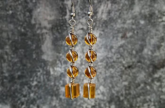 Wire Bead Earrings - Brown