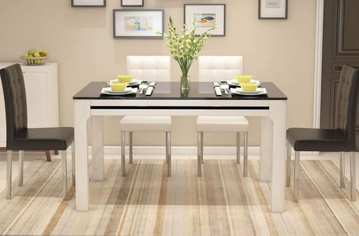 Tempered glass dining table and chair combination 20180331194756