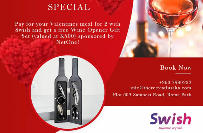 Pay for your Valentine's Meal for 2 with Swish you get a free Wine Opener Gift set image