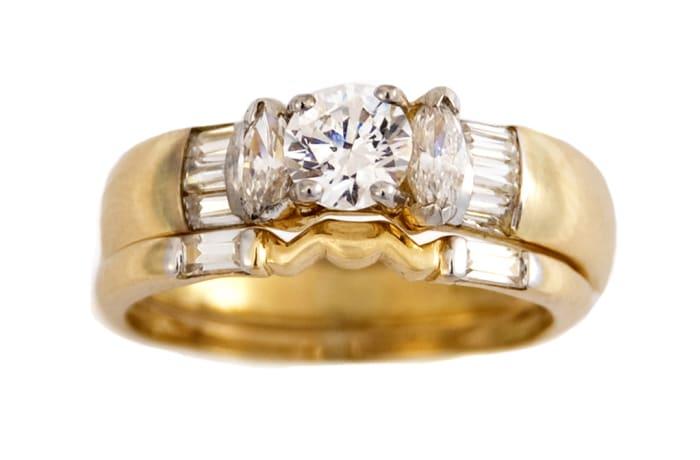 Three Stone Bridal Set Gold Wedding Ring