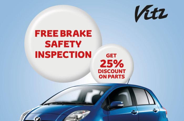 Toyota Vitz free brake safety inspection image