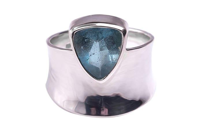 Silver  Aquamarine  Trillion Bezel Ring
