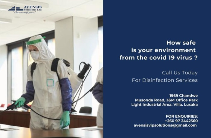 Engage Avensis Solutions to disinfect your premises from harmful germs and bacteria image
