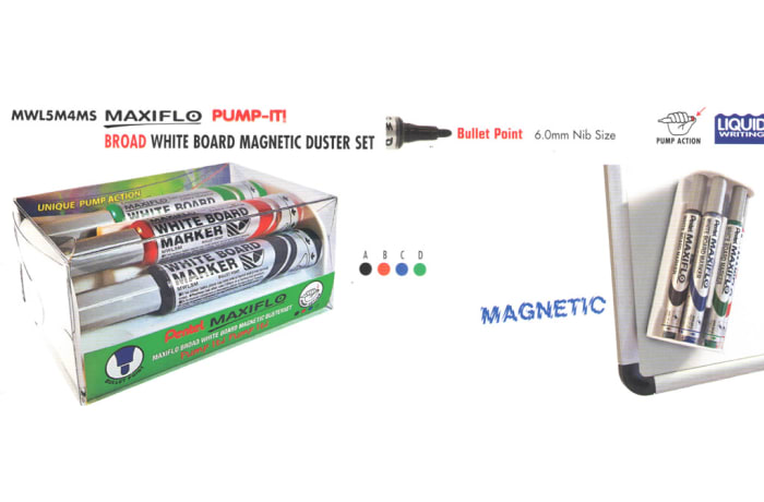 White Board Markers - MWL5S4MS Maxiflo Pump-It White Board Magnetic Duster Set - Bullet Point