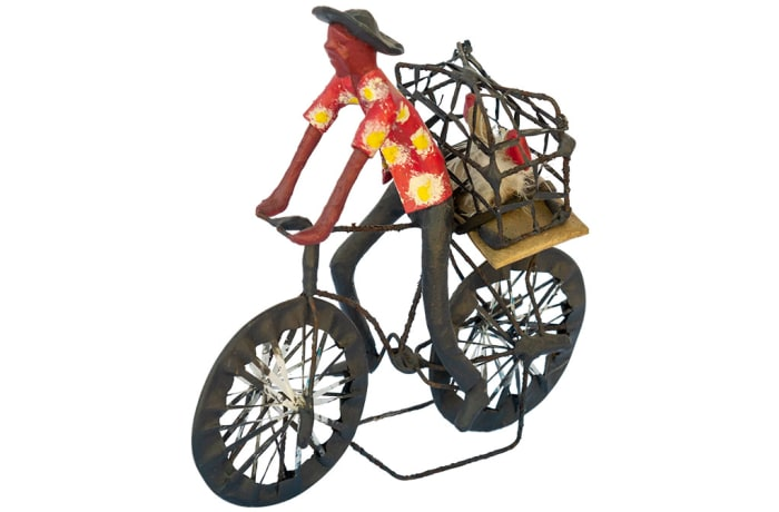 Toy Bicycle  Man Carrying Chickens  Sculpture