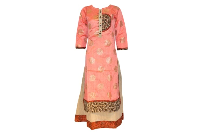 Kurti Pisha peach and gold