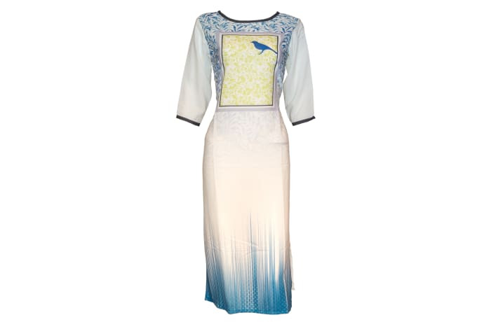 Kurti Pisha white and blue