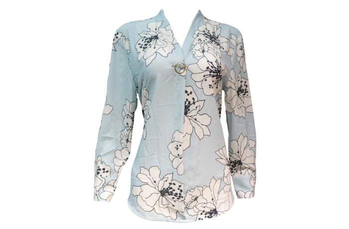 Formal Office Top blue with flowers