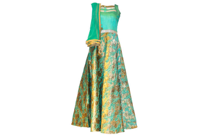 Punjabi Dress green and gold