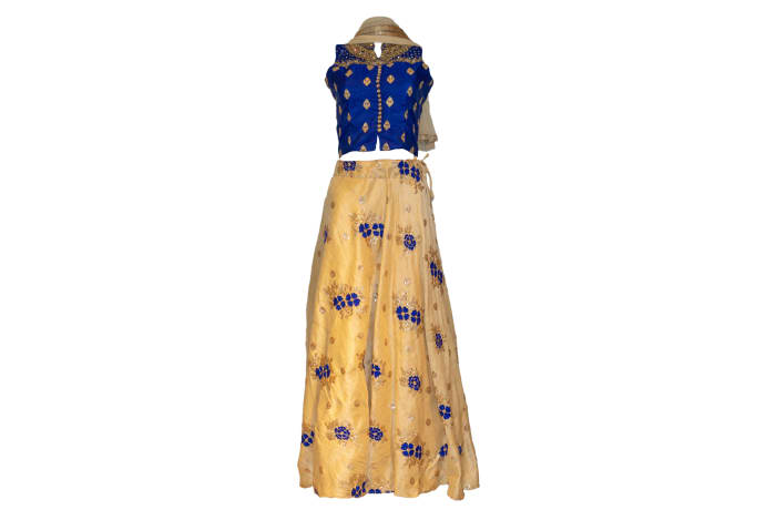 Punjabi Dress Suit blue and gold