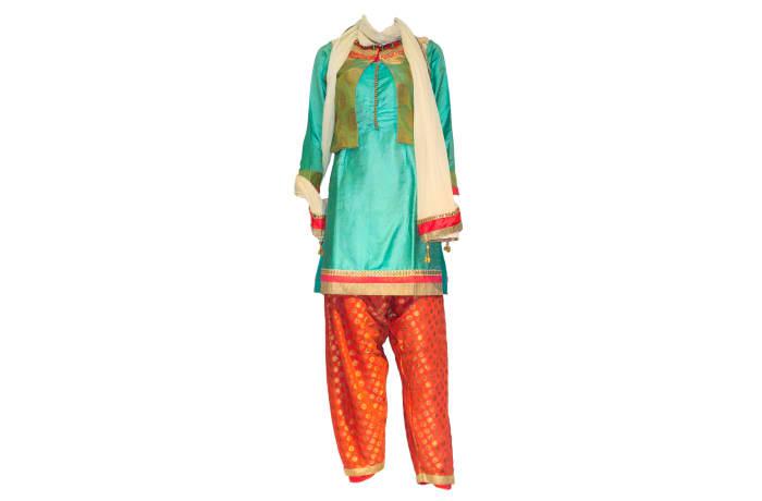 Punjabi Dress Suit blue and pink