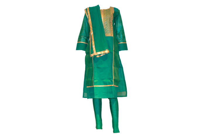 Punjabi Suit green and gold
